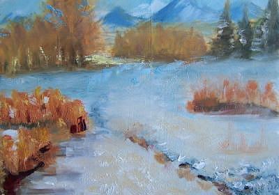 Plein Air Painting - Snow Covered Path by Julieanne Nielsen