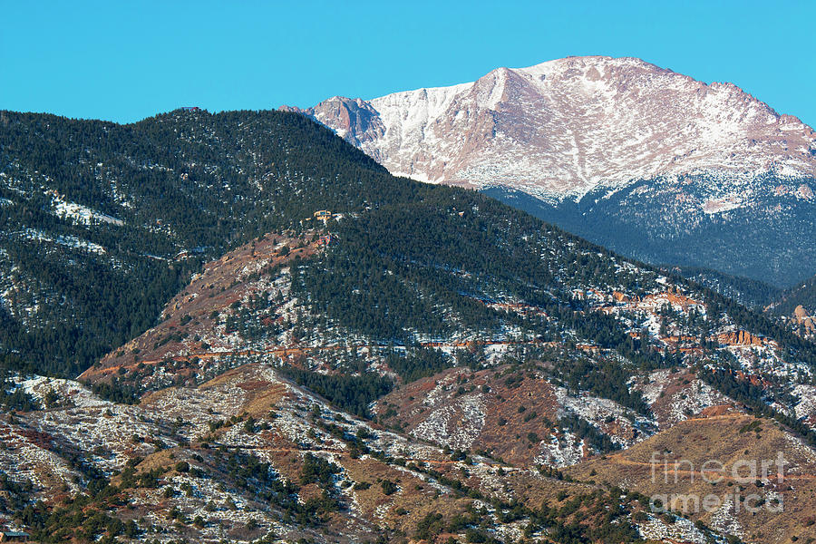 Snow Covered Pikes Peak Photograph