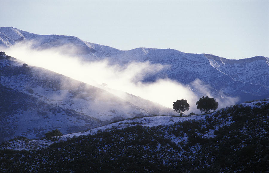 Scenic Views Photograph - Snow Covered Santa Ynez Mountains by Rich Reid