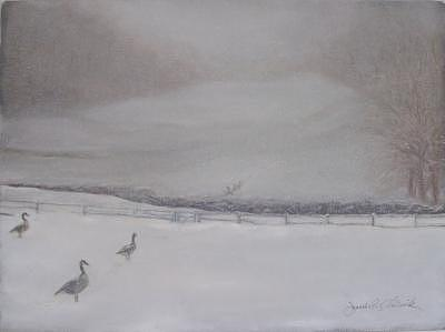 Chester County Painting - Snow Day For Geese by Jeanie Chadwick