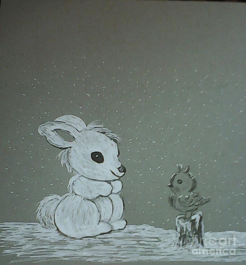 Rabbit Drawing - Snow Day by Ginny Youngblood