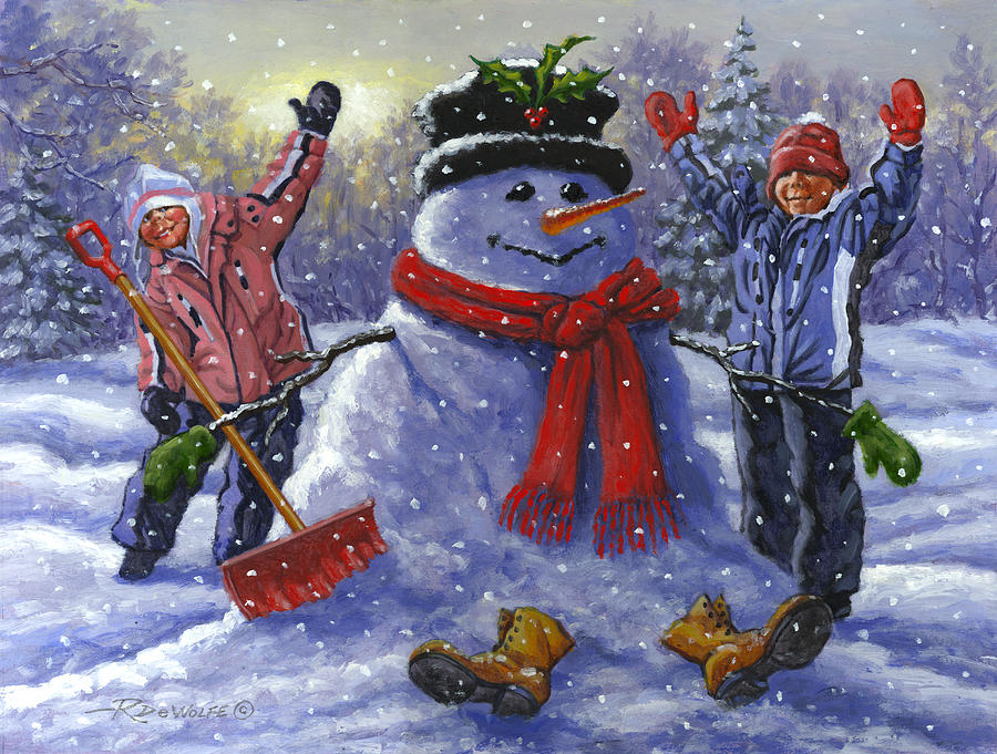 Snowman Painting - Snow Day by Richard De Wolfe