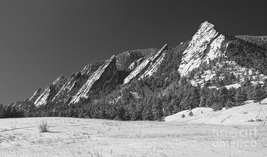Flatirons Photograph - Snow Dusted Flatirons Boulder Co Panorama Bw by James BO  Insogna
