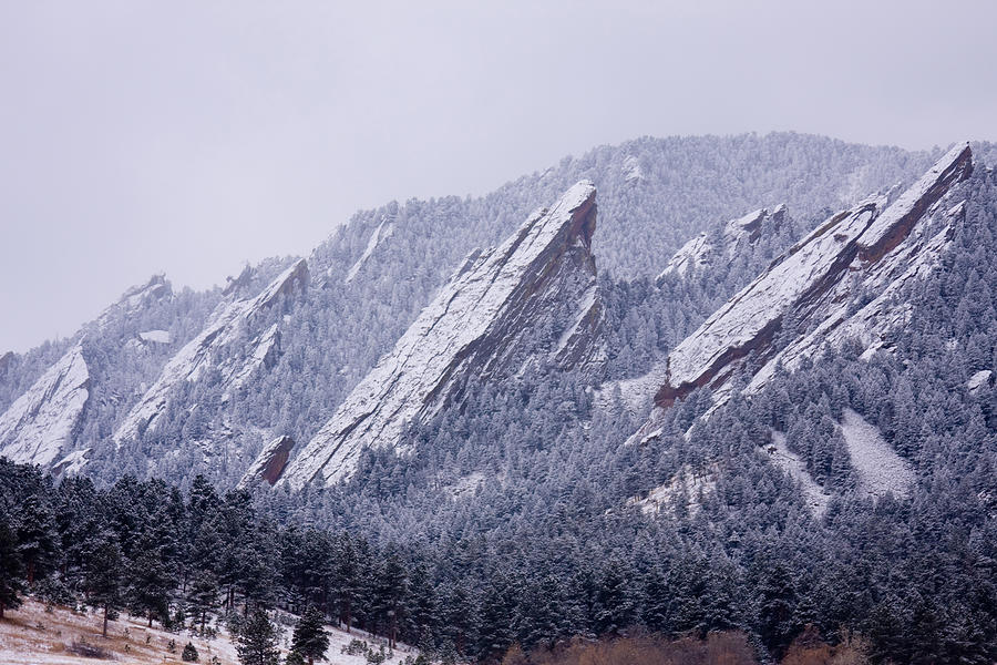 Snow Photograph - Snow Dusted Flatirons Boulder Colorado by James BO  Insogna
