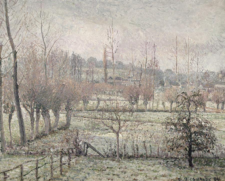 Snow Painting - Snow Effect At Eragny by Camille Pissarro