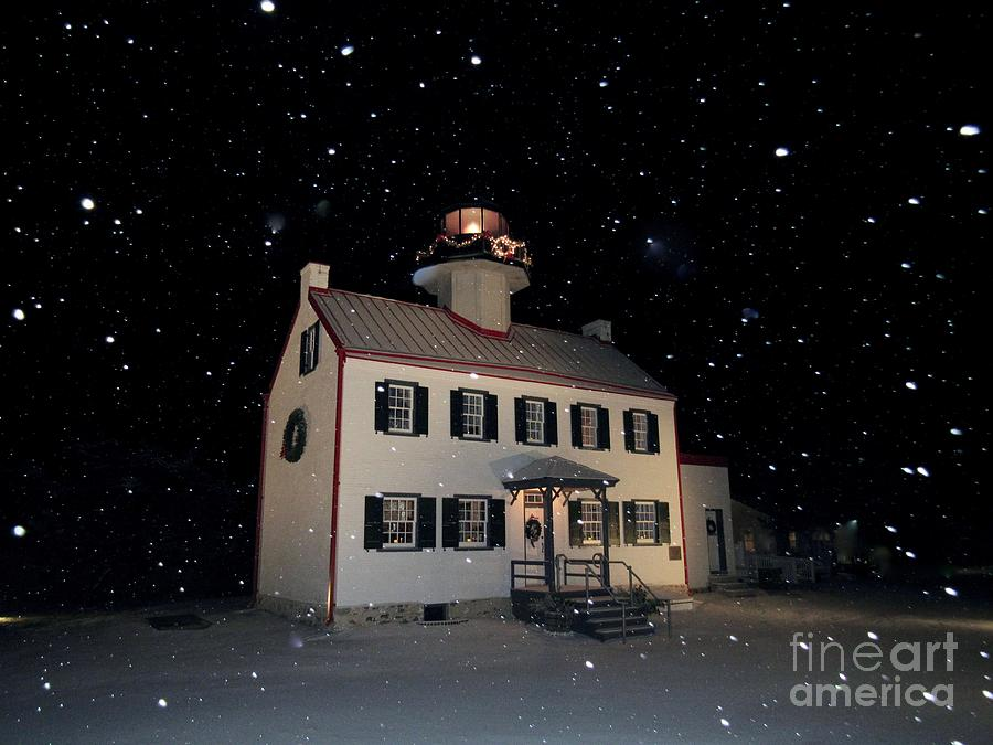 Snow Falling on East Point Lighthouse  by Nancy Patterson