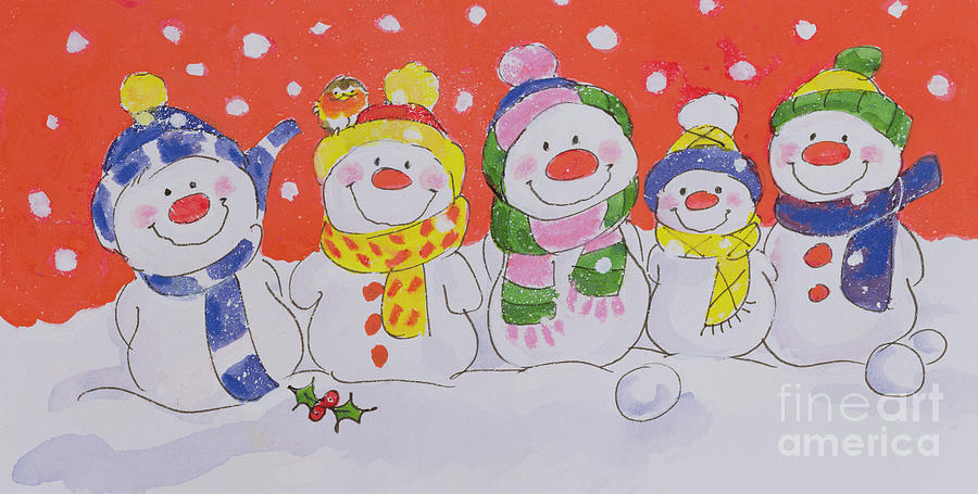 Snow Family (w/c And Ink On Paper) By Diane Matthes (contemporary Artist) Painting - Snow Family by Diane Matthes
