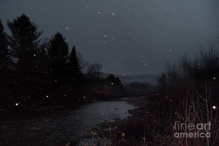 Snow Photograph - Snow Flakes By Little River Stowe Vermont by Felipe Adan Lerma
