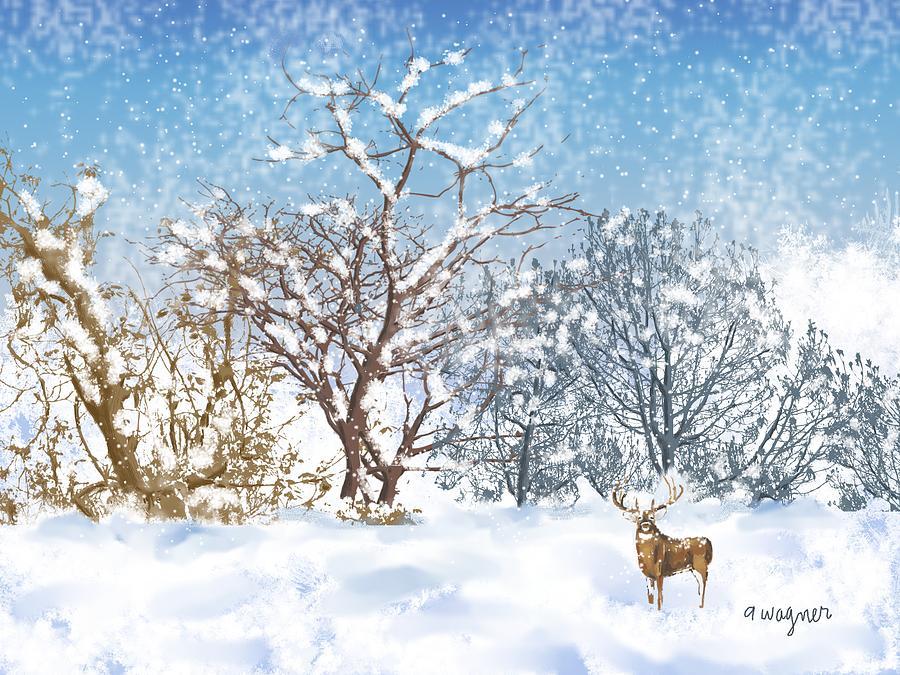 Snow Digital Art - Snow Flurry by Arline Wagner