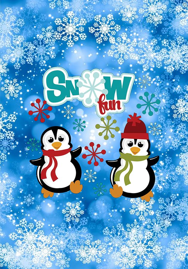 Snow Digital Art - Snow Fun Penguins by Justin Clanton