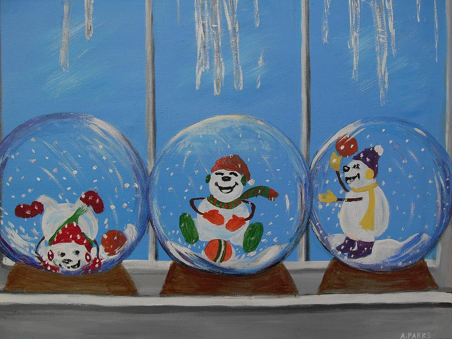 Window Painting - Snow Globes by Aleta Parks