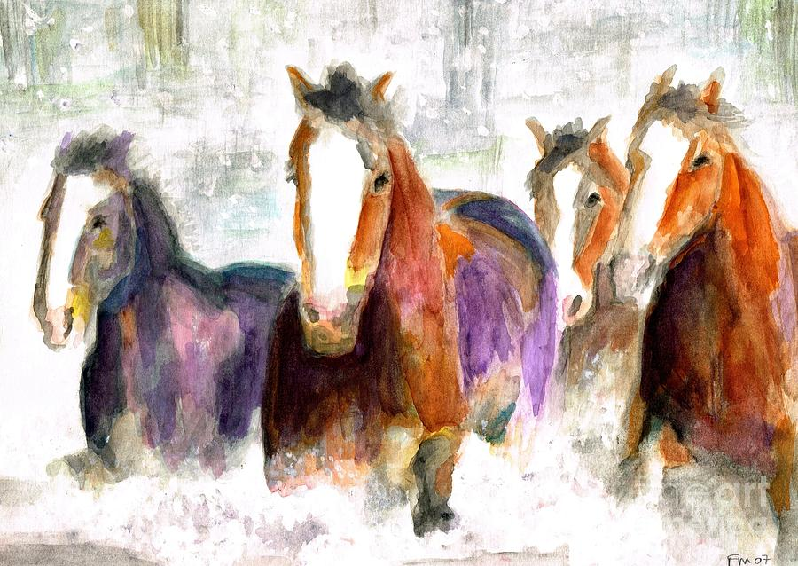 Horses Painting - Snow Horses by Frances Marino