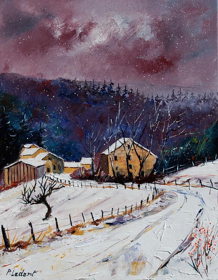 Landscape Painting - Snow In Sechery by Pol Ledent