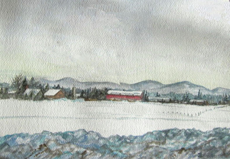 Snow Painting - Snow In The Berkshires by Judy Riggenbach
