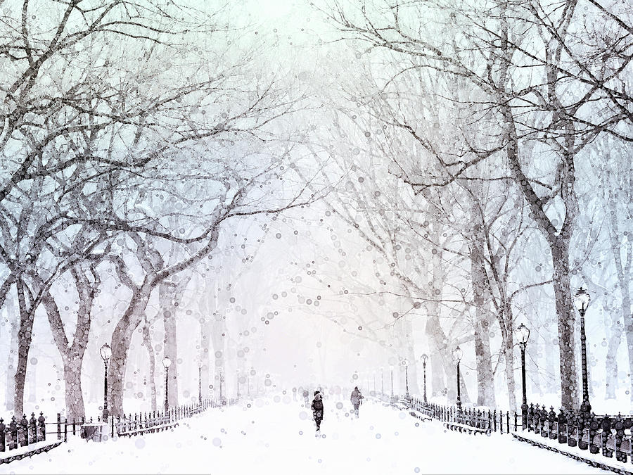 New York Mixed Media - Snow In The City by Susan Maxwell Schmidt