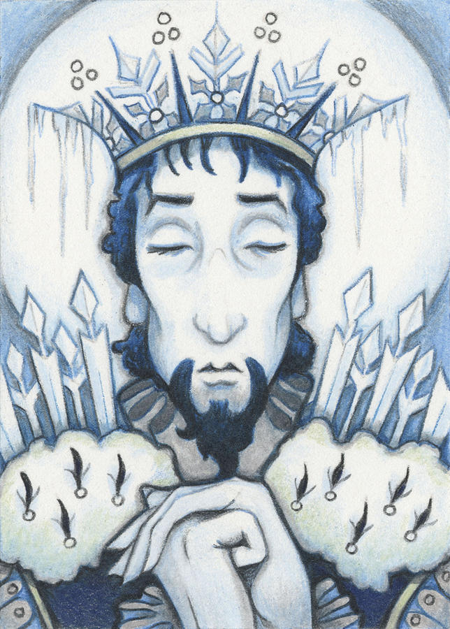 Atc Drawing - Snow King Slumbers by Amy S Turner