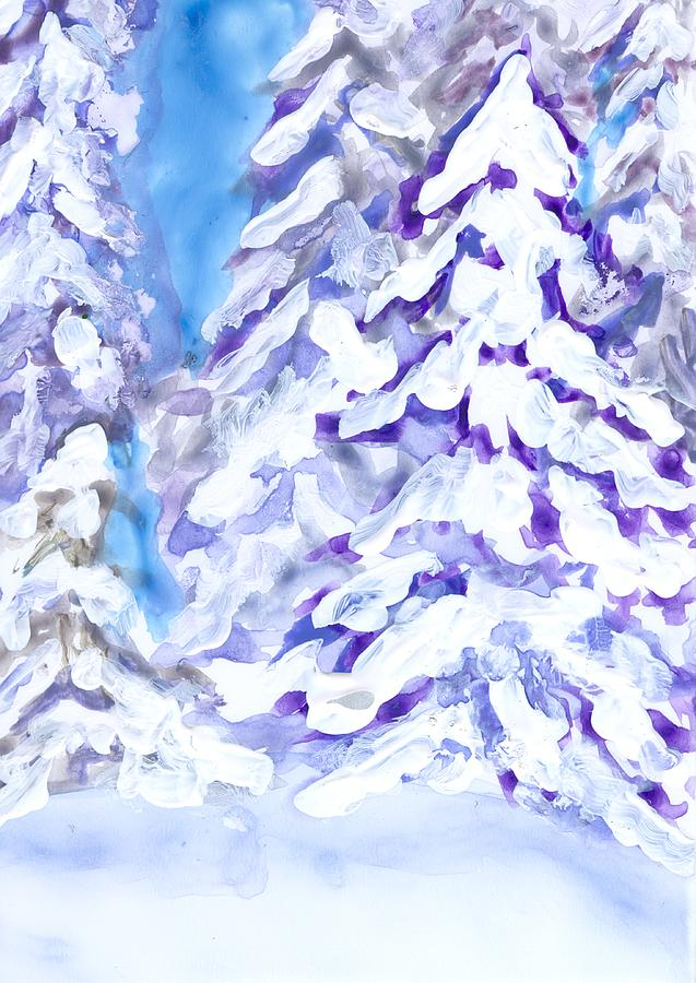 Landscape Painting - Snow Laden Trees by Wanda Pepin