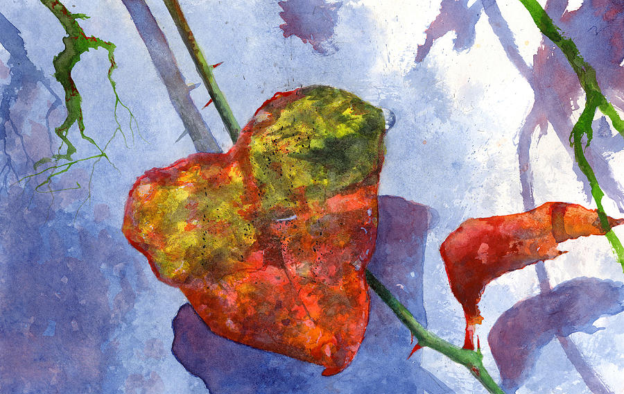 Winter Painting - Snow Leaf by Andrew King