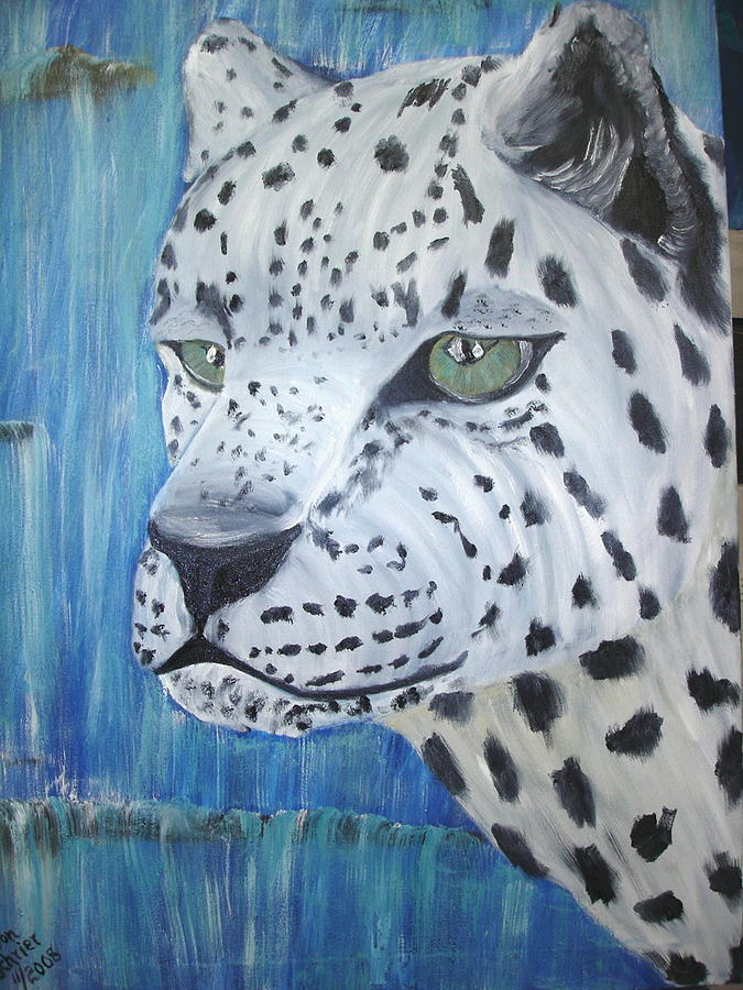 Animals Painting - Snow Leopard And Waterfall by Donald Schrier
