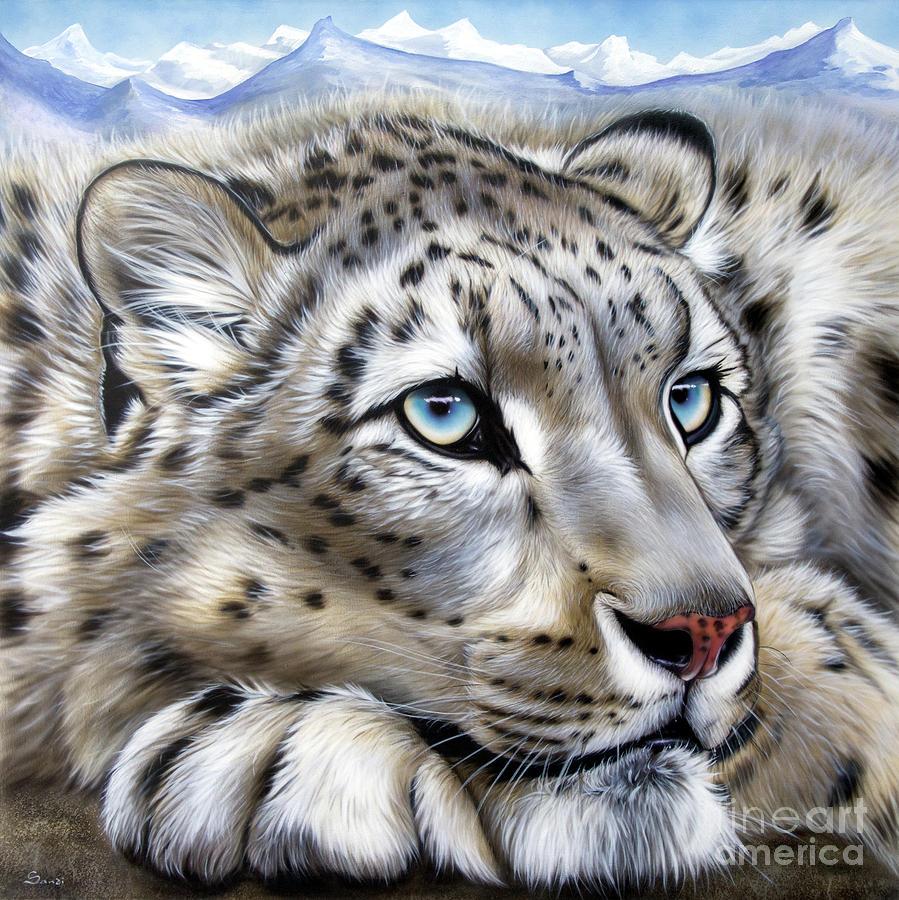 Snow Leopard S Dream Painting By Sandi Baker