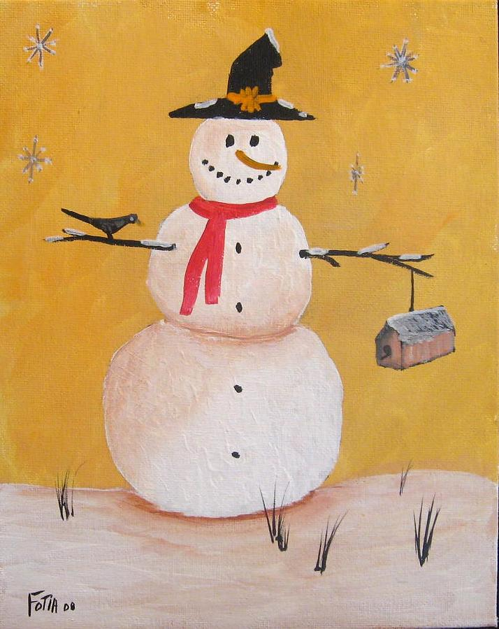 Snowman Painting - Snow Man And Bird House by Rich Fotia