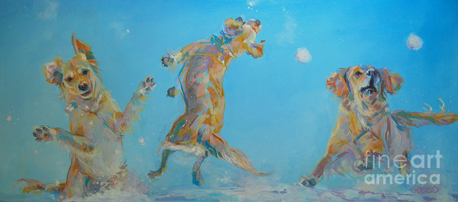 Golden Retriever Painting - Snow Much Fun by Kimberly Santini