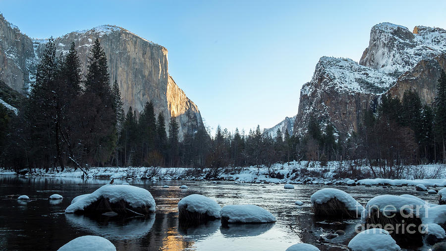California Photograph - Snow On Large Rocks With El Capitan In The Background by PorqueNo Studios
