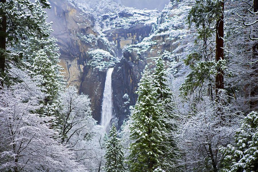 Snow on Lower Yosemite Falls by Gregory Scott