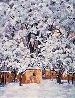 Snow On Santa Fe Painting by Betty Cummings