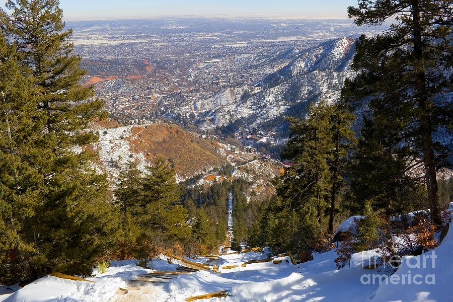 Snow On The Manitou Incline In Wintertime Photograph