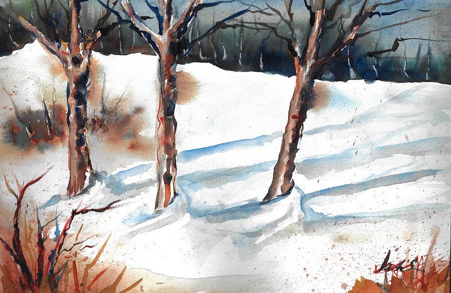 Snow Scene Painting Painting - Snow Orchard by Jacki Kellum