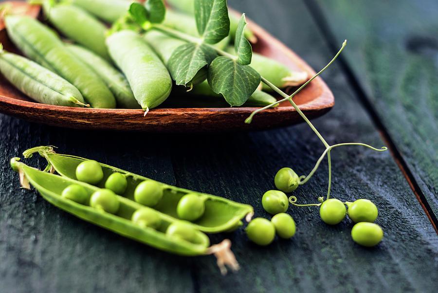 Green Peas Photograph - Snow Peas Or Green Peas Still Life by Vishwanath Bhat