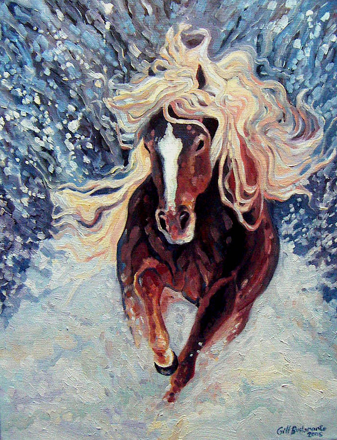 Mammals Painting - Snow Pony by Gill Bustamante