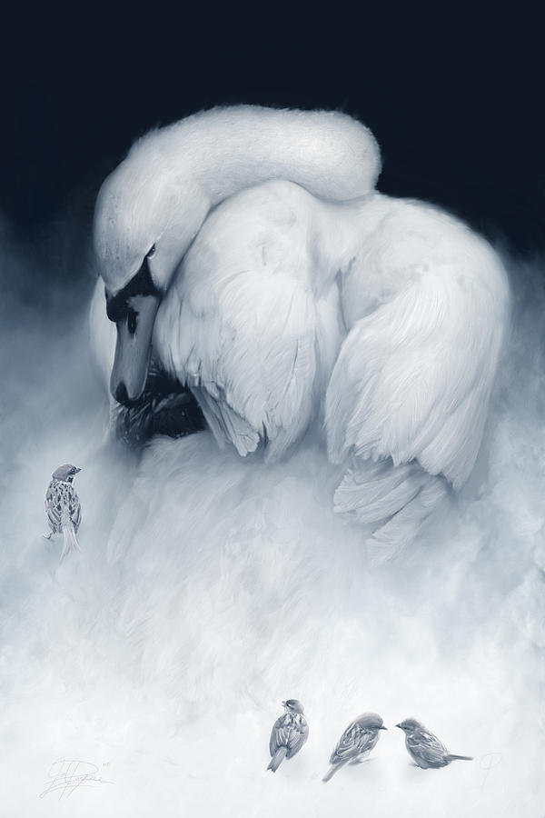 Swan Painting - Snow Queen And Her Court by Joel Payne
