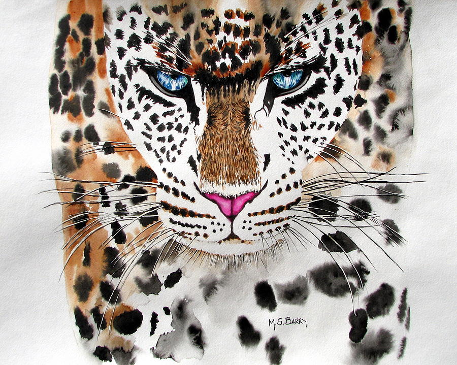 Leopard Painting - Snow Queen by Maria Barry