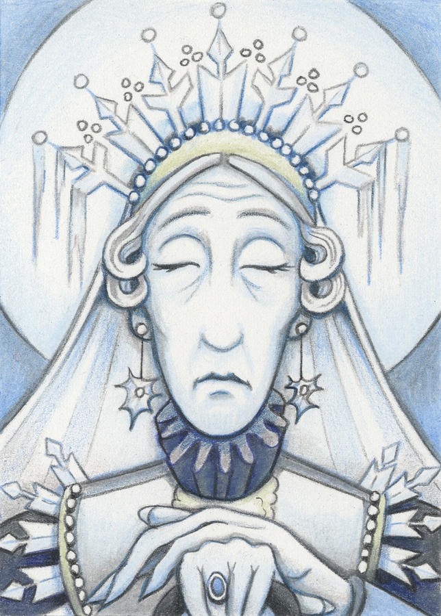 Atc Drawing - Snow Queen Mum Slumbers by Amy S Turner