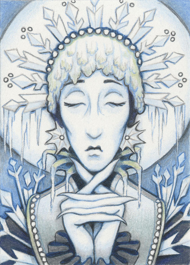 Atc Drawing - Snow Queen Slumbers by Amy S Turner