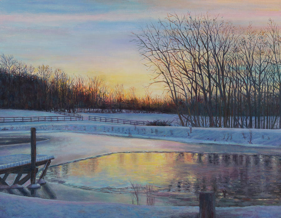Snow Scene Painting - Snow Scene At Sunset by David P Zippi