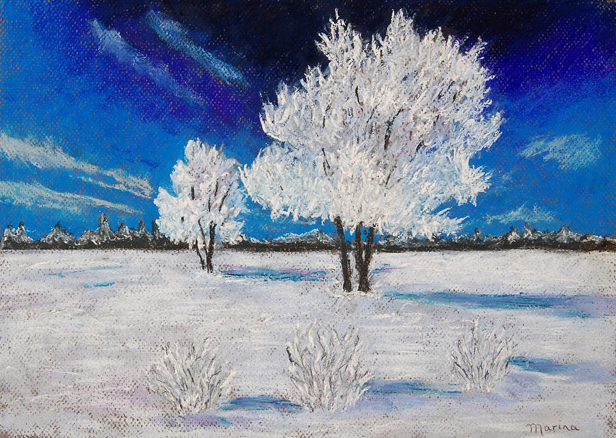 Landscapes Pastel - Snow Scene by Marina Garrison