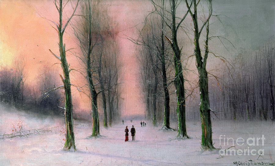 Snow Painting - Snow Scene Wanstead Park   by Nils Hans Christiansen