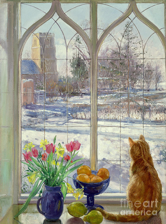 Cat Painting - Snow Shadows And Cat by Timothy Easton