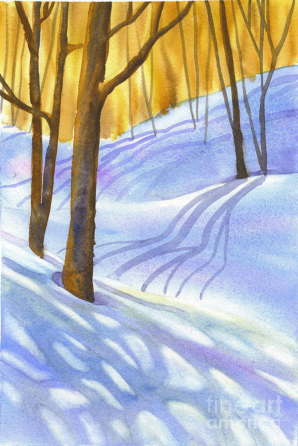 Snow Painting - Snow-shadows by Nancy Newman