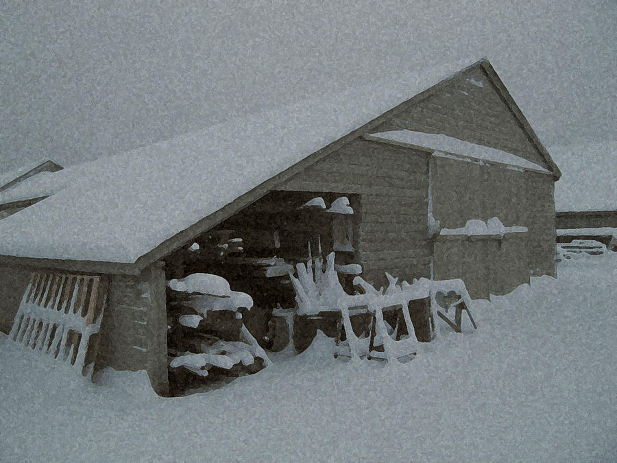 Snow Mixed Media - Snow Shed by Paul Barlo