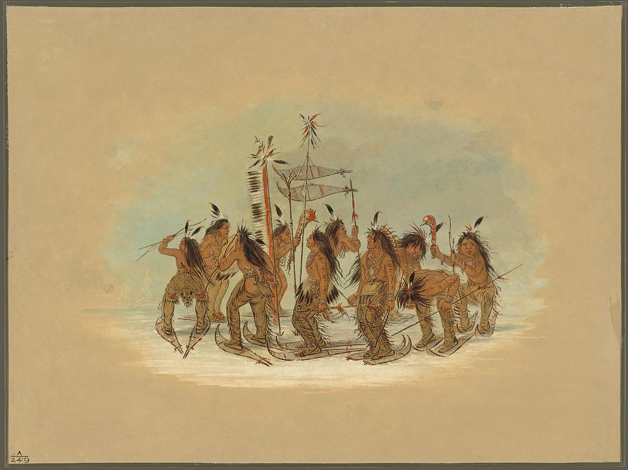 George Catlin Painting - Snow Shoe Dance. Ojibbeway by George Catlin
