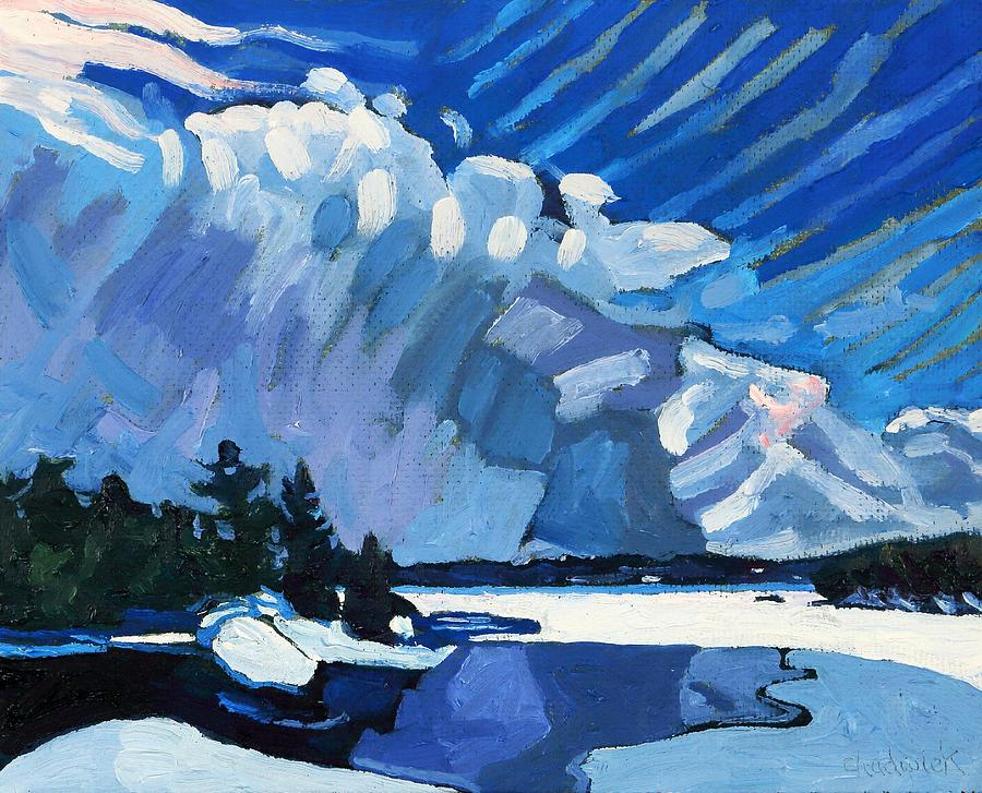 February Painting - Snow Squalls by Phil Chadwick