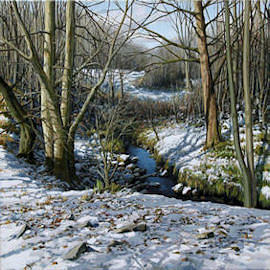 Snow Stream Painting by Eugene Conway