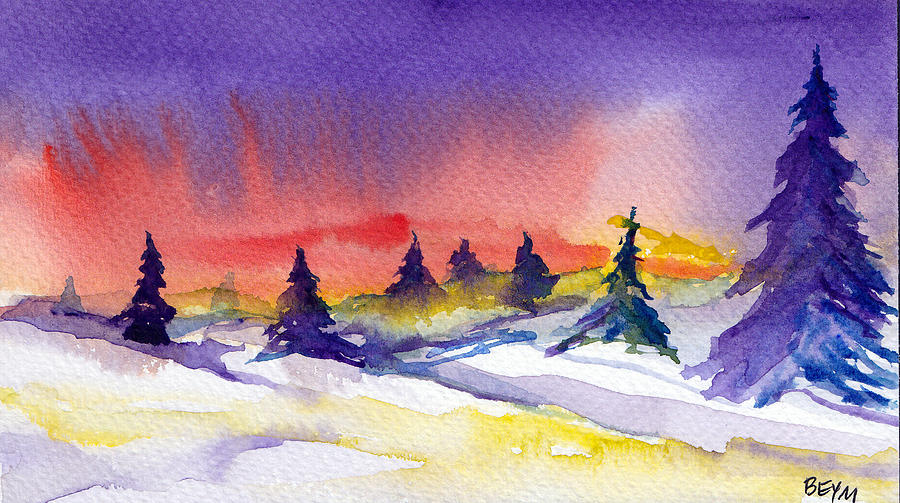 Snow Sunset Painting