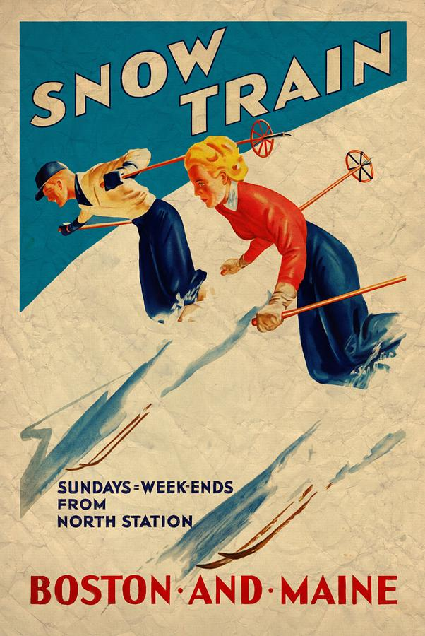 Snow Train - Vintagelized by Vintage Advertising Posters