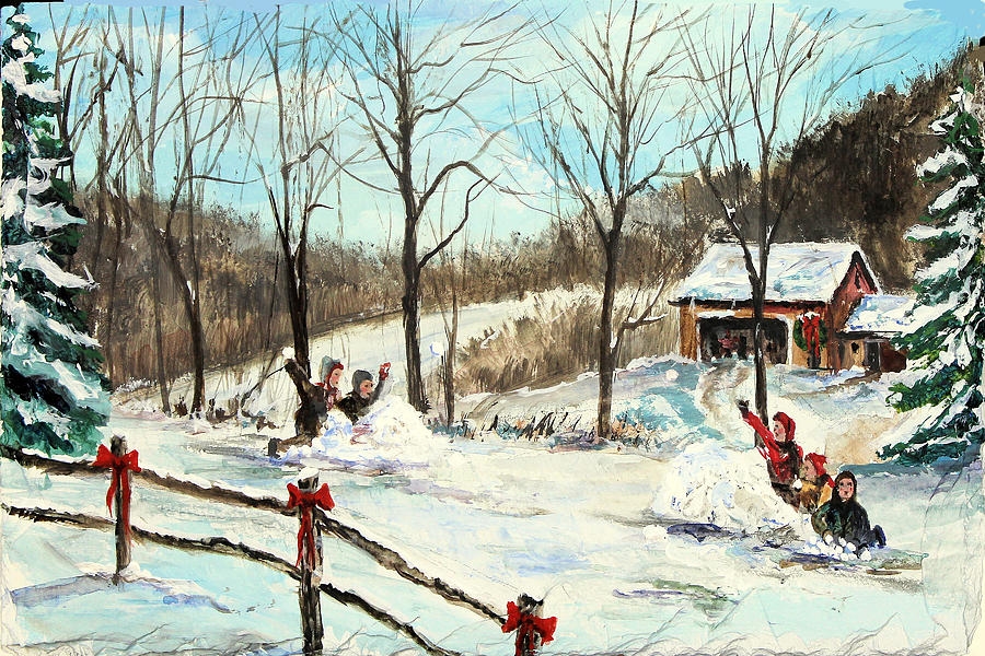 Snowball Painting - Snowball Battle by C Keith Jones