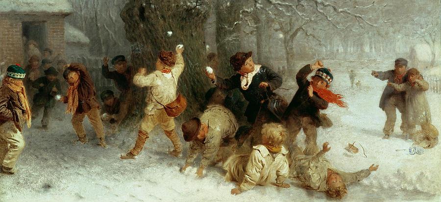 Snowballing Painting - Snowballing by John Morgan